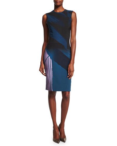 Sleeveless Colorblock Sheath Dress, Indigo