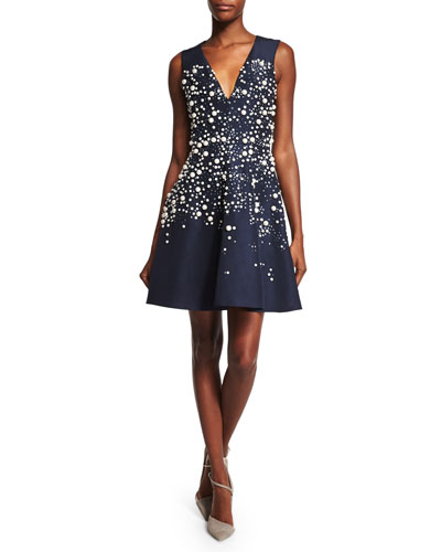 Sleeveless Embellished Fit-&-Flare Dress, Navy