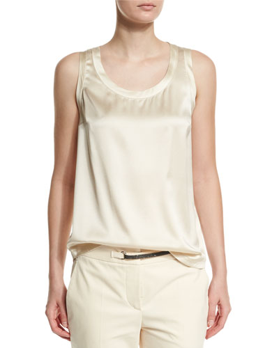 Scoop-Neck Stretch-Satin Tank, Butter