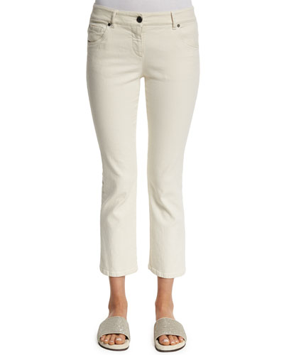 Flare-Leg Cropped Jeans, Natural