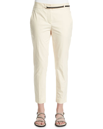Straight-Leg Cropped Pants, Butter