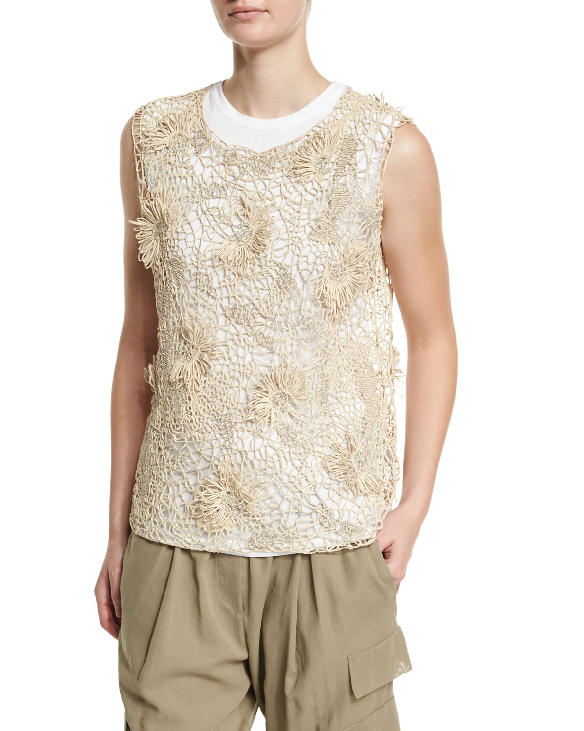 Sleeveless Rubberized Floral Top, Canvas