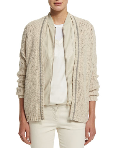 Monili-Trim Open-Front Cardigan, Butter