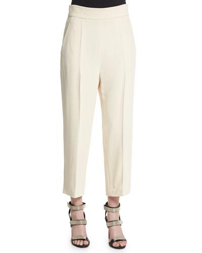 High-Waist Culotte Pants, Butter