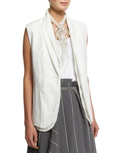 One-Button Paillette Vest, White