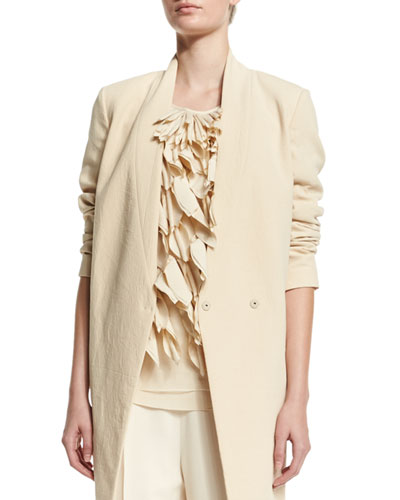 V-Neck Mid-Length Jacket, Butter