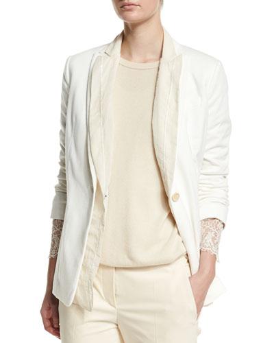 Double-Layer Jacket W/Paillettes, Vanilla
