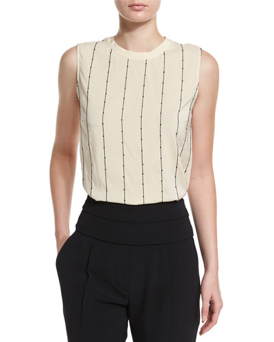 Sleeveless Embroidered Silk Top, Butter/Black