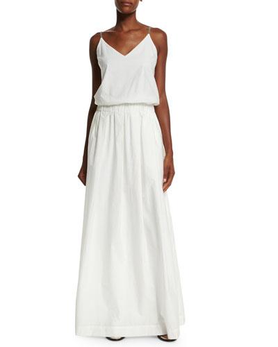 V-Neck Monili-Strap Long Dress, White