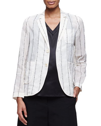 Paillette-Striped Snap-Front Blazer, Vanilla