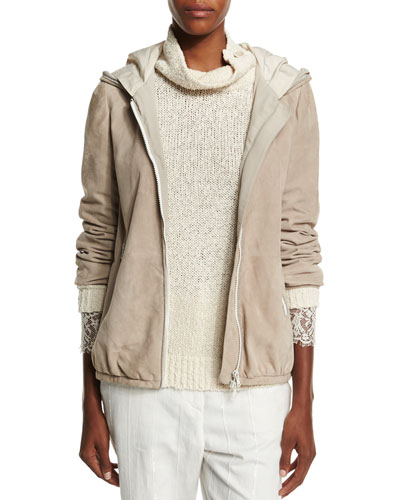Hooded Suede Jacket W/Monili Trim, Aluminum