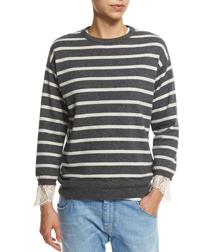 Striped-Cashmere & Lace Pullover Sweater, Charcoal/Butter
