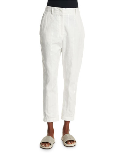 Paillette-Stripe Cropped Trousers, White