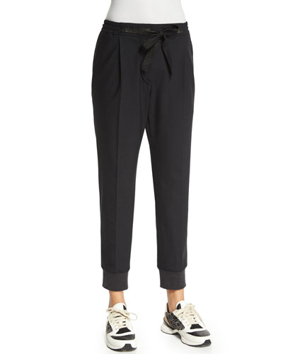 Pleated-Front Belted Jogger Pants, Onyx