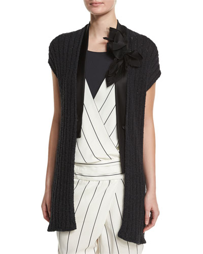 Cap-Sleeve Paillette Ribbed Cardigan, Black