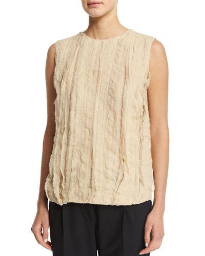 Jewel-Neck Textured-Front Tank, Canvas