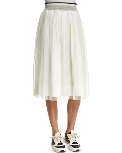 High-Waist A-Line Skirt, White