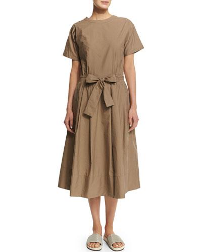 Short-Sleeve Belted Shirtdress, Farro