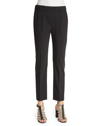 Slim-Leg Ankle Pants, Black