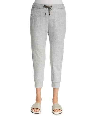 Monili-Trim Spa Pants, Light Gray