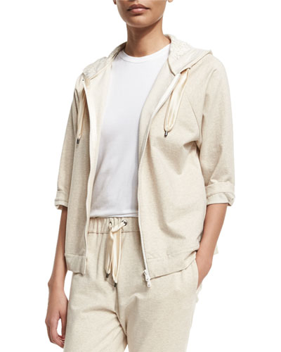 Zip-Front Hooded Spa Jacket, Butter