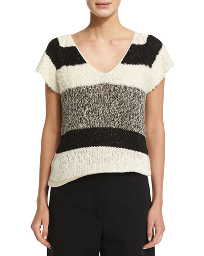 Cap-Sleeve Striped Sweater, Butter/Black