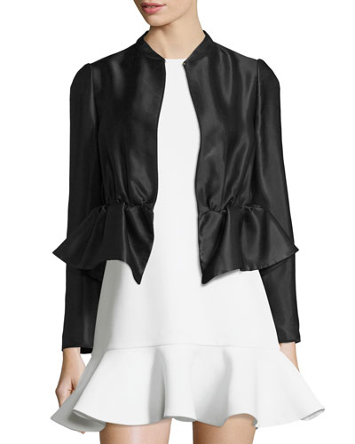 Long-Sleeve Ruffle-Hem Jacket, Black