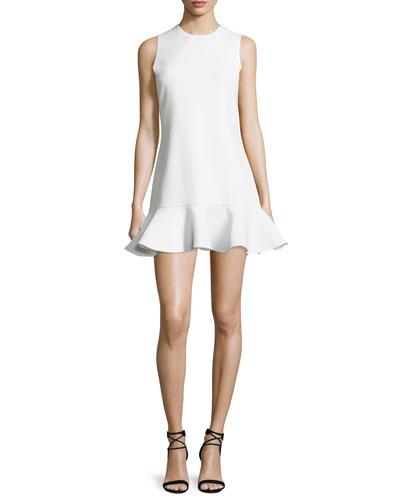 Sleeveless Flounce-Hem Dress, Ivory
