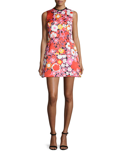 Sleeveless Fit-&-Flare Mini Dress, Berry Dianthus