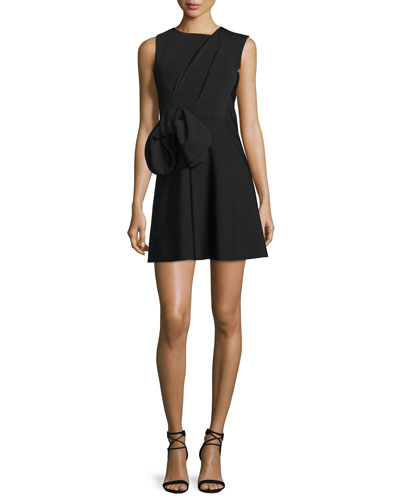 Sleeveless Waist-Bow Mini Dress, Black