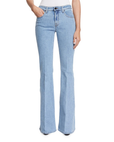 High-Waist Flare-Leg Jeans, Denim