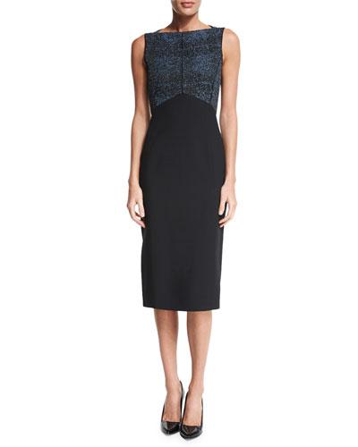 Sleeveless Two-Tone Sheath Dress, Black