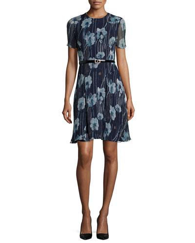 Short-Sleeve Floral-Print Belted Dress, Dusk Multi