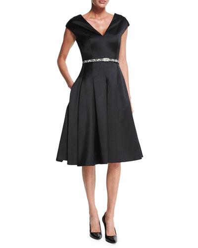 Cap-Sleeve Belted Flounce Dress, Black