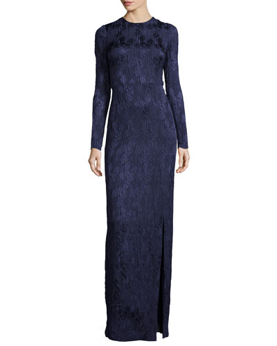Long-Sleeve Floral Silk Cloque Gown, Dusk