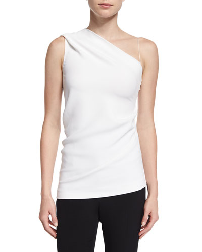 One-Shoulder Slim-Fit Top, White