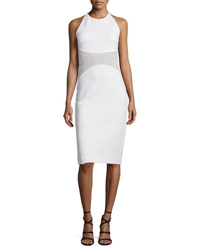 Halter-Neck Mesh-Inset Sheath Dress, White