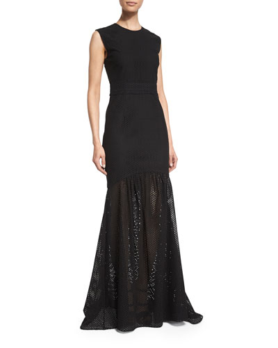 Sleeveless Eyelet Mermaid Gown, Black