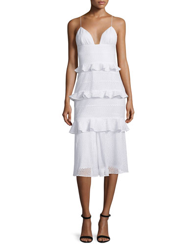 Sleeveless Tiered-Eyelet Bustier Dress, White