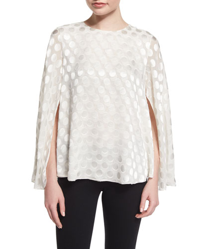Jewel-Neck Polka-Dot Cape Blouse, White