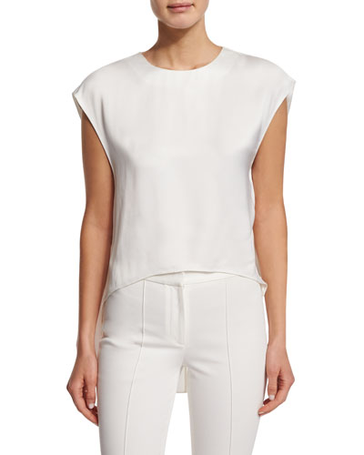 Jewel-Neck High-Low Muscle Top, Ivory