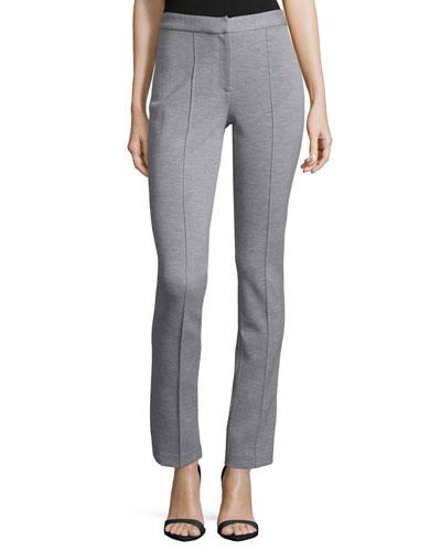 Slim-Leg Ankle Pants, Light Gray