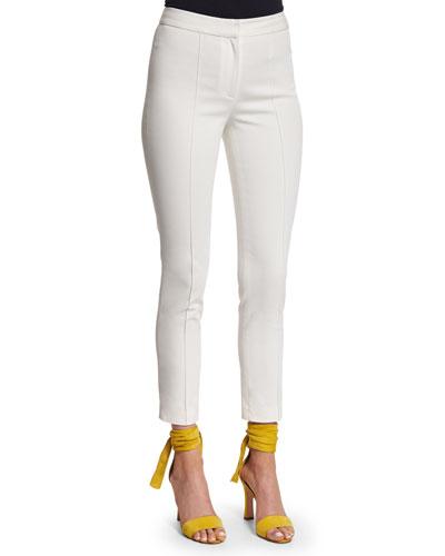 Slim-Leg Ankle Pants, Ivory