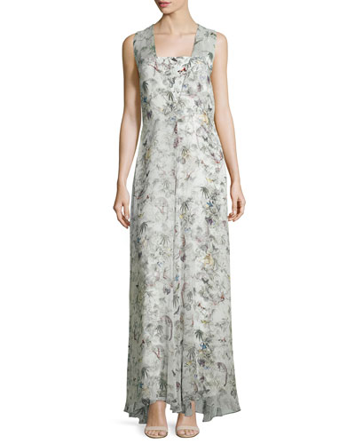 Sleeveless Floral-Print Silk Gown, Cuban Forest
