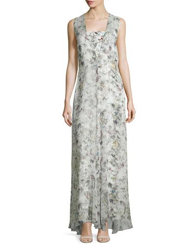 Sleeveless Floral-Print Silk Gown, Cuban Forest
