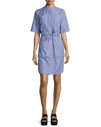 Striped Poplin Half-Sleeve Shirtdress, Blue/White