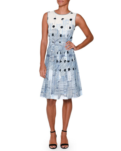 Sleeveless Deco-Dot Dress, Blue/Multi