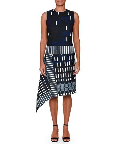 Sleeveless Domino-Print Dress, Ink Blue/White
