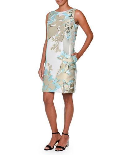 Sleeveless Fil Coupe Sheath Dress, Aqua/Taupe