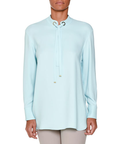Long-Sleeve Tie-Neck Tunic, Aqua